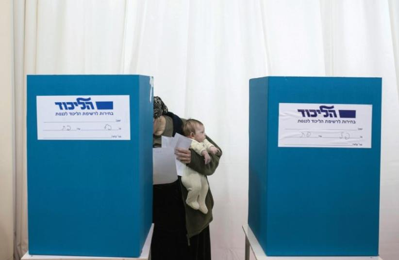 A Likud polling station in December 2014 (photo credit: REUTERS)