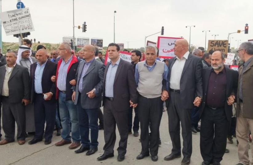 Israeli Arab MKs at protest in Beersheba against planned destruction of illegal unrecognized Beduin villages (photo credit: JOINT LIST)