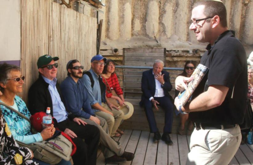 ZE'EV ORENSTEIN guides 'Jerusalem Post' staffers in the City of David. (photo credit: MARC ISRAEL SELLEM/THE JERUSALEM POST)