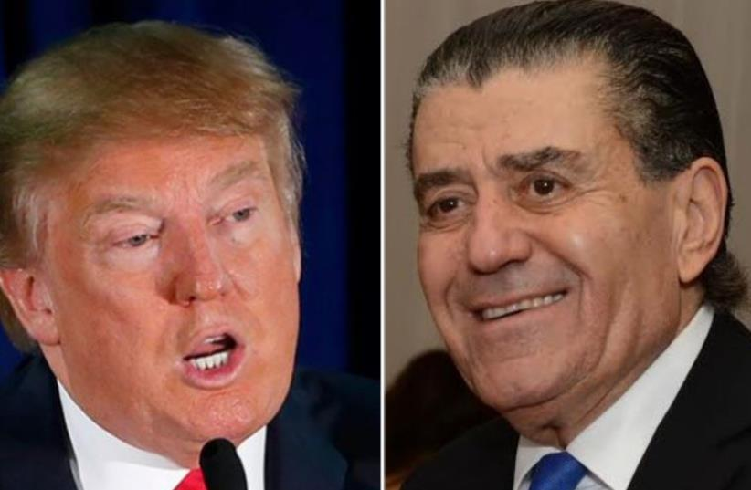 Donald Trump (L) and Haim Saban (photo credit: PETER HALMAGYI,REUTERS)