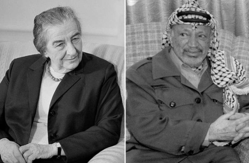 Golda Meir and Yasser Arafat (photo credit: REUTERS,Wikimedia Commons)