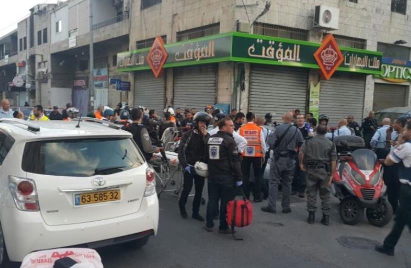 Scene of Jerusalem shooting attack (photo credit: MEDABRIM TIKSHORET)