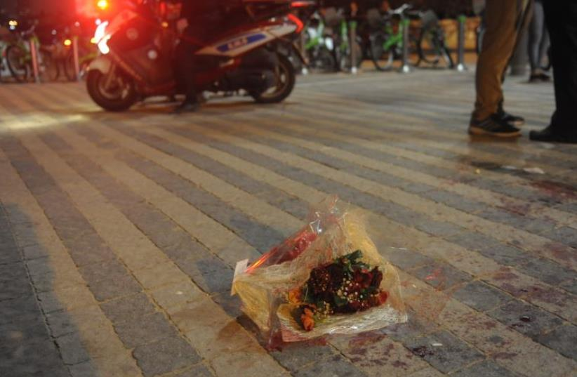 Scene of the Jaffa stabbing attack, Tuesday March 8 (photo credit: AVSHALOM SHOSHANI)