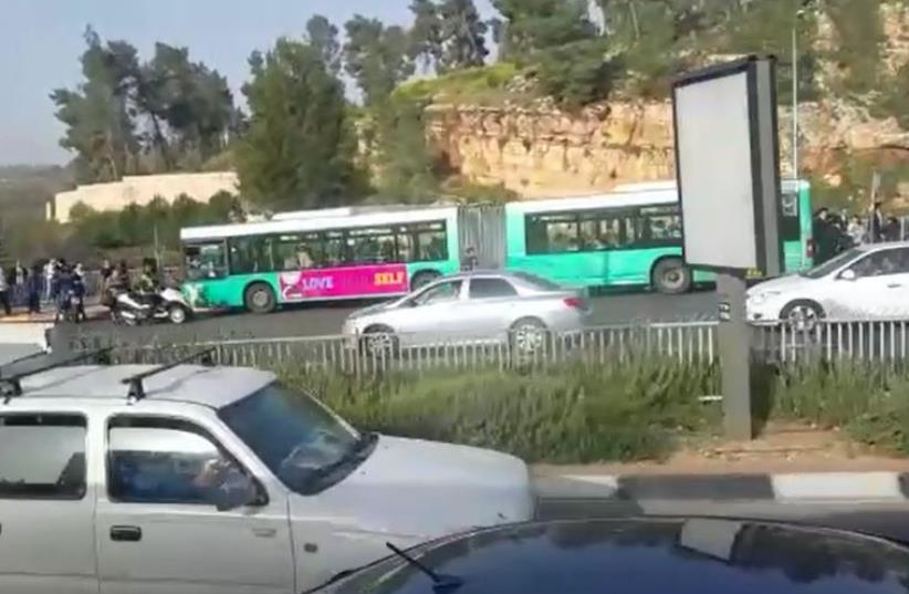 Scene of shooting attack on bus in Jerusalem (photo credit: screenshot)