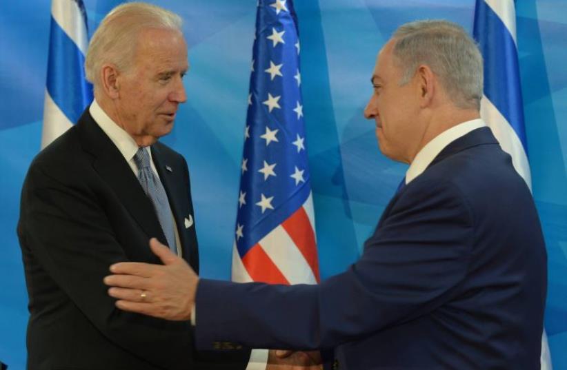 US Vice President Joe Biden meets Prime Minister Benjamin Netanyahu, March 8, 2016 (photo credit: AMOS BEN-GERSHOM/GPO)