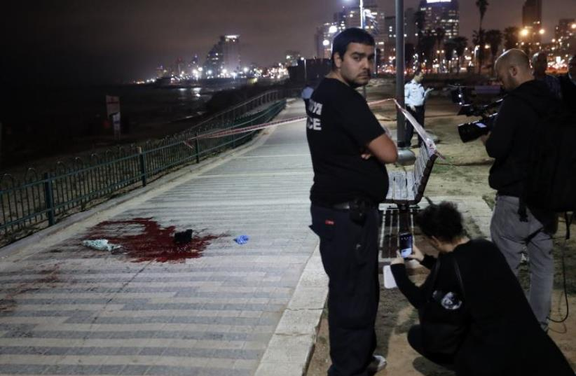 Scene of stabbing in Jaffa (photo credit: THOMAS COEX / AFP)