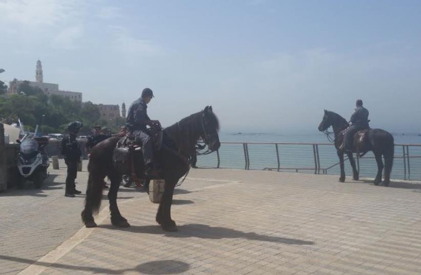 Police on seaside Tel Aviv-Jaffa promenade day after terror attack, March 9, 2016 (photo credit: BEN HARTMAN)