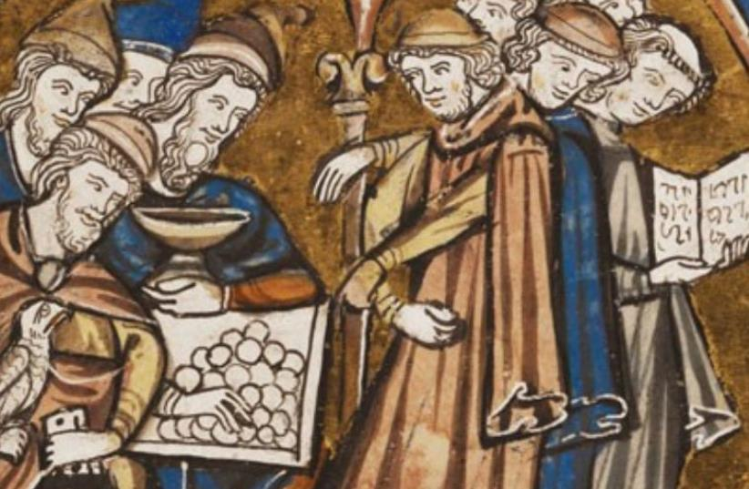 Ancient depiction of Jews as money lenders and financiers (photo credit: Courtesy)