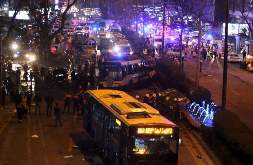 Ankara, Turkey explosion kills over two dozen March 13, 2016 (photo credit: REUTERS)