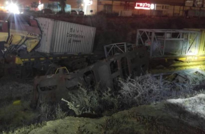 Scene of train collision in Dimona  (photo credit: FIRE AND RESCUE SERVICE)