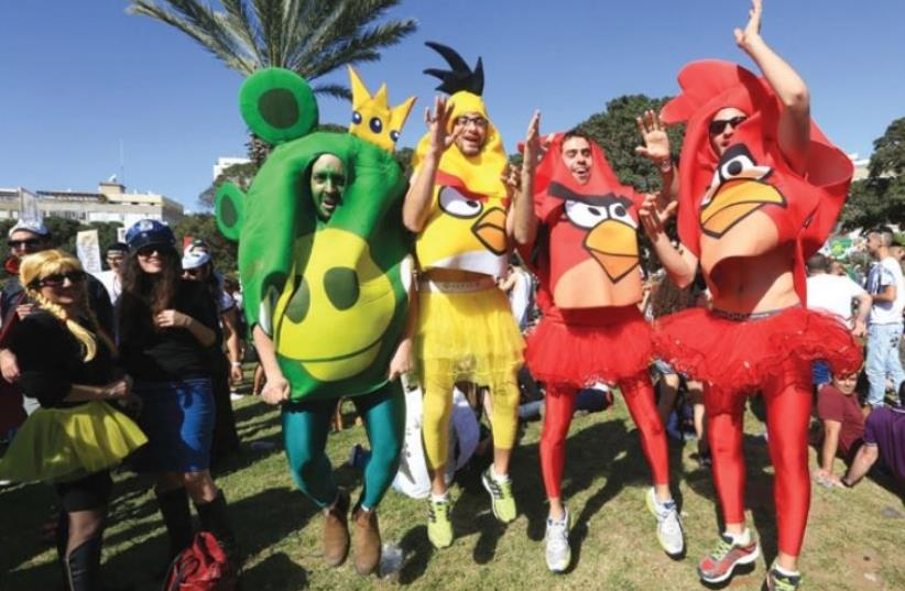 Tel Aviv's annual Purim Rave Street Party at Kikar Hamedina (photo credit: Courtesy)