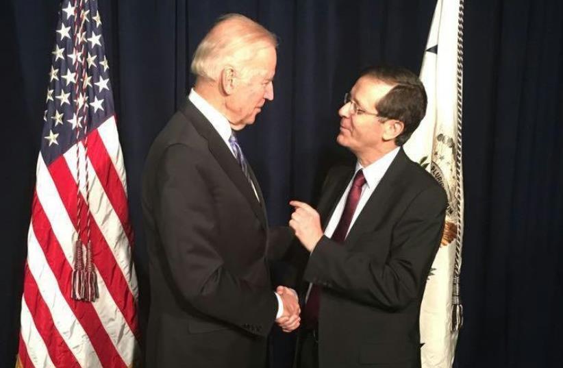 US VP  Joe Biden and opposition leader Isaac Herzog (photo credit: ISAAC HERZOG)