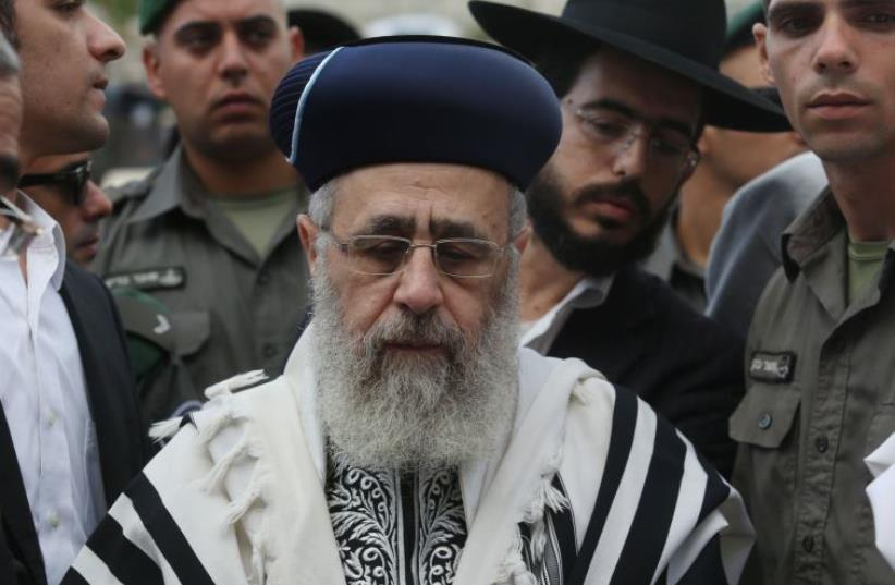 Chief Rabbi Yitzhak Yosef at the Western Wall (photo credit: MARC ISRAEL SELLEM/THE JERUSALEM POST)