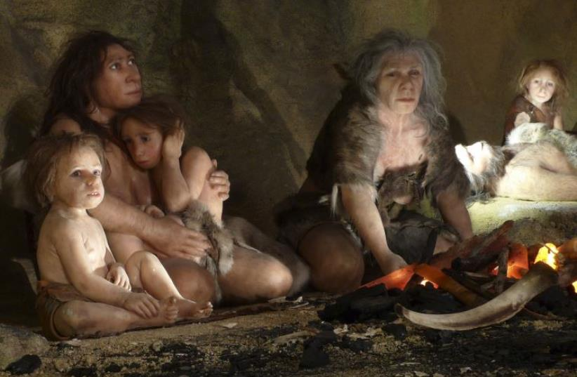 An exhibit shows the life of a neanderthal family in a cave in the new Neanderthal Museum in the northern town of Krapina  (photo credit: REUTERS)
