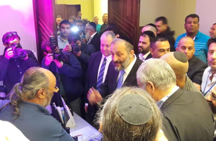 Aryeh Deri speaks at Ramada Jerusalem hotel, 30.03.16. (photo credit: GIL HOFFMAN)