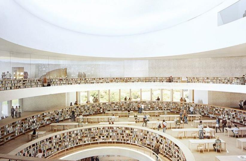 The National Library's new complex will face the Knesset (photo credit: HERZOG AND DE MEURON ARCHITECTS)