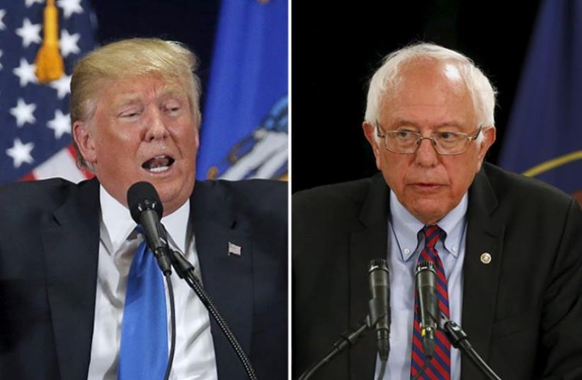 Trump and Sanders (photo credit: REUTERS)