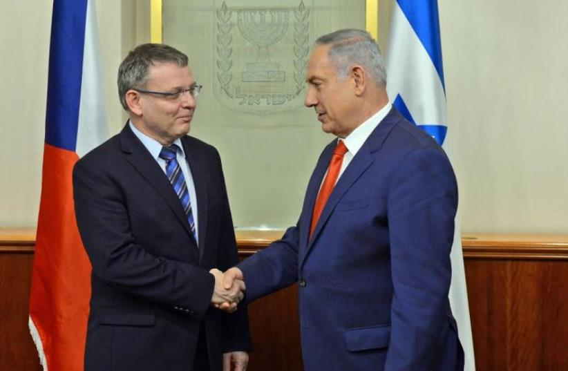 Prime Minister Benjamin Netanyahu and Czech Foreign Minister Lubomie Zaoralek. (photo credit: GPO)