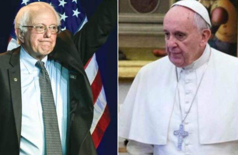 Vermont Senator Bernie Sanders and Pope Francis (photo credit: REUTERS)
