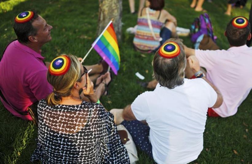 Participants take part in the 2015 Jerusalem Pride Parade (photo credit: REUTERS)