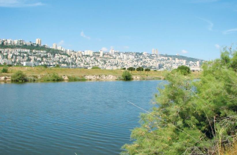 THE KISHON RIVER flows past Mount Carmel into Haifa Bay (photo credit: Wikimedia Commons)