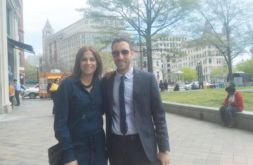 MKS MERAV BEN-ARI and Itzik Shmuly pose in Washington last week (photo credit: Courtesy)