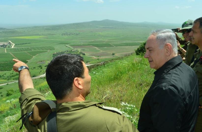 Netanyahu visits IDF drill in Golan Heights (photo credit: KOBI GIDEON/GPO)