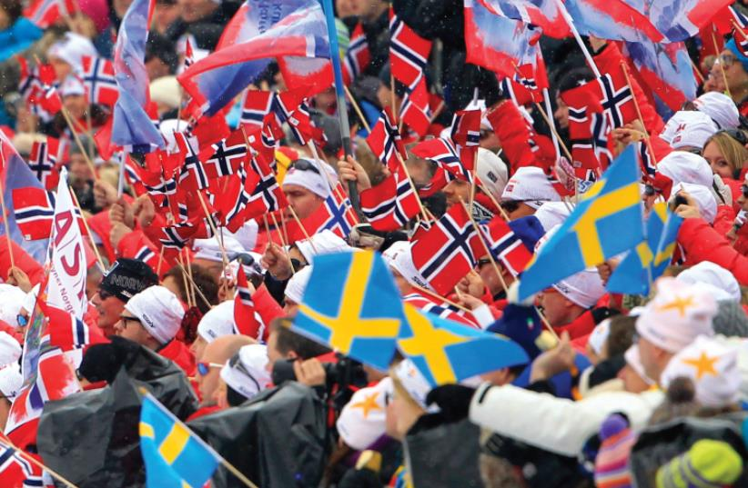 Norway, sweden, nordic flags (photo credit: REUTERS)