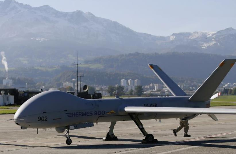 Israel's Elbit defense contractor is aiming to supply at least 20 systems of its Hermes 450 and Hermes 900 drones, seen here during a presentation at a Swiss airbase (photo credit: REUTERS)