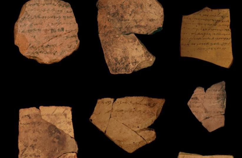 An ancient correspondence from local military personnel stationed at thefortress of Arad, located in southern Judah, dating to the latest phase of the First Temple Period in 600 BCE. (photo credit: MICHAEL CORDONSKY)
