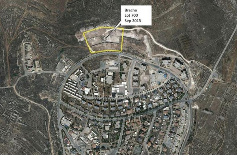 THIS AERIAL SHOT of the Har Bracha settlement in the West Bank, south of Nablus, in September shows homes in the early stages of construction. (photo credit: COURTESY PEACE NOW)