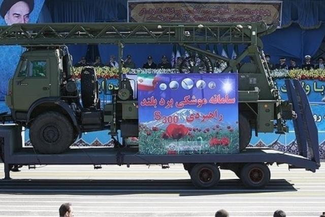 """Iran displays parts of S-300 air defense missile system imported from Russia in parade on """"National Army Day."""" (photo credit: FARS)"""