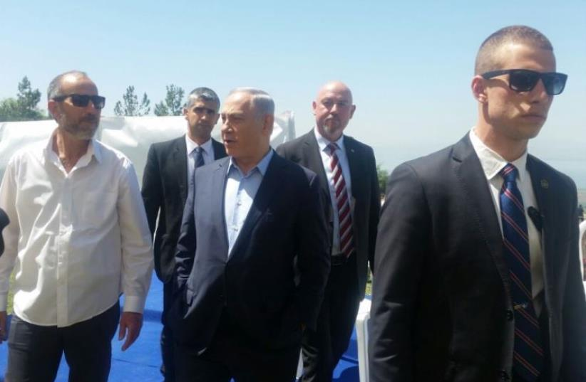 Prime Minister Benjamin Netanyahu in the Golan Heights, April 17, 2016. (photo credit: GOLAN REGIONAL COUNCIL)