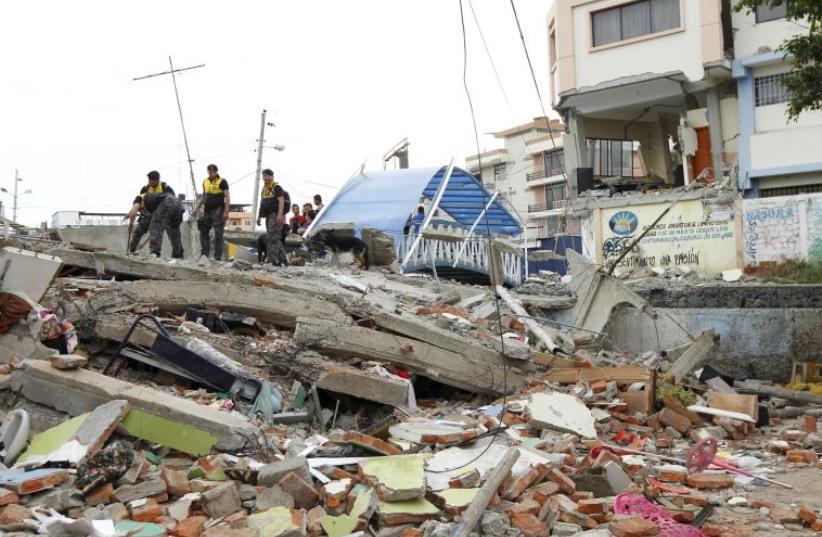 7.8 magnitude earthquake strikes Ecuador (photo credit: REUTERS)