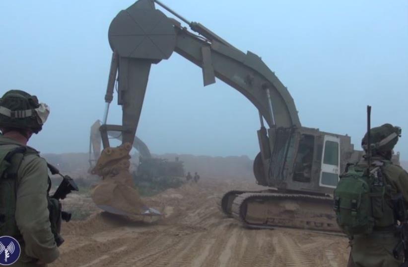 IDF work to find tunnels on Gaza border (photo credit: IDF SPOKESMAN'S UNIT)