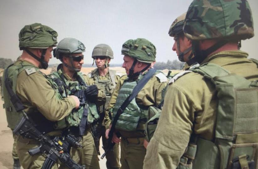 IDF Chief of Staff, Lt.-Gen. Gadi Eisenkot at scene where Hamas tunnel was uncovered in the south (photo credit: IDF SPOKESMAN'S UNIT)