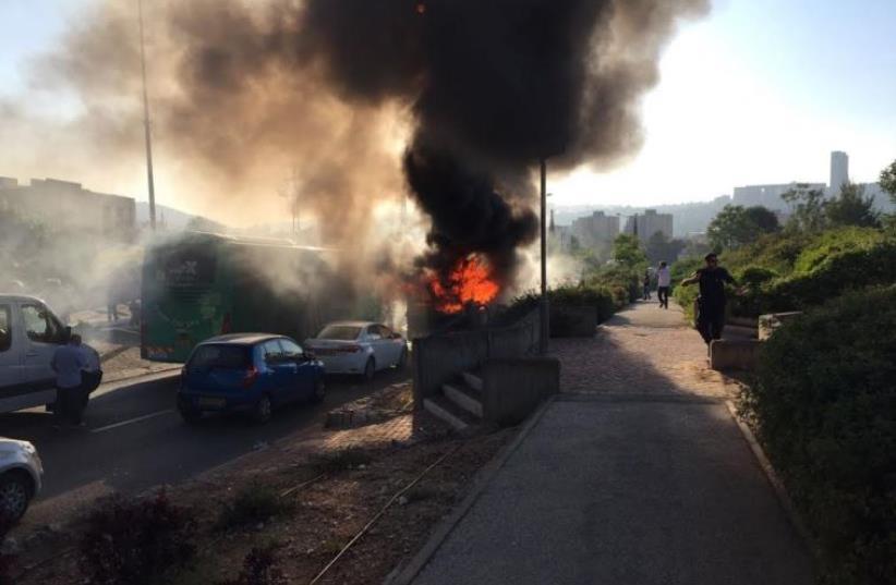Photo of scene of possible bus explosion in Jerusalem, April 18, 2016  (photo credit: MEDABRIM TIKSHORET)