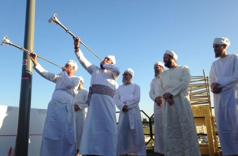 Cohanim priests taking part in the Passover ritual (photo credit: JEREMY SHARON)