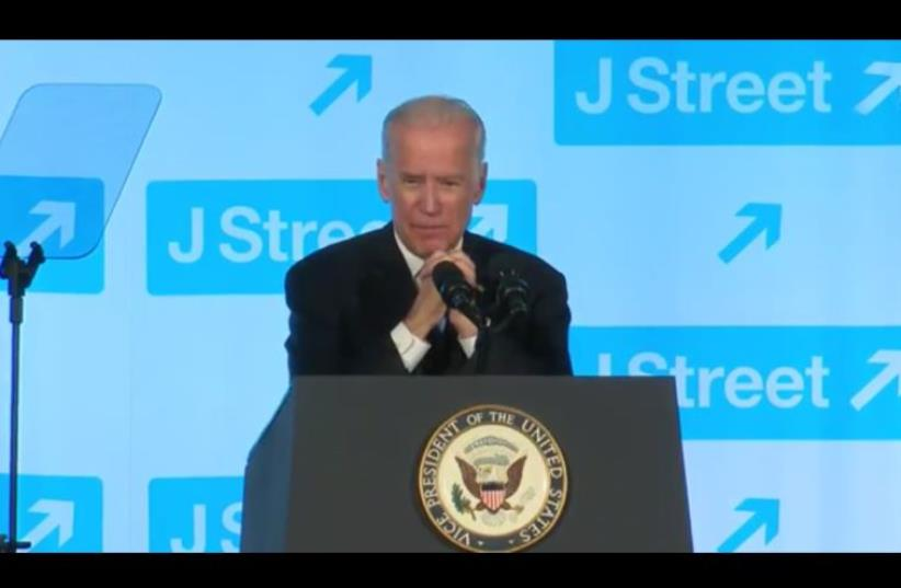 Vice President Joe Biden speaking at J Street (photo credit: COURTESY J STREET)
