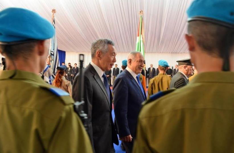 Prime Minister Benjamin Netanyahu meets with visiting counterpart from Singapore, Lee Hsien Loong (photo credit: HAIM ZACH/GPO)
