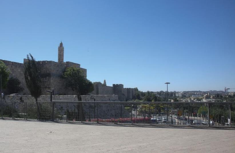 Lots of elbow room in the plaza near Jaffa Gate in the Old City (photo credit: MARC ISRAEL SELLEM)