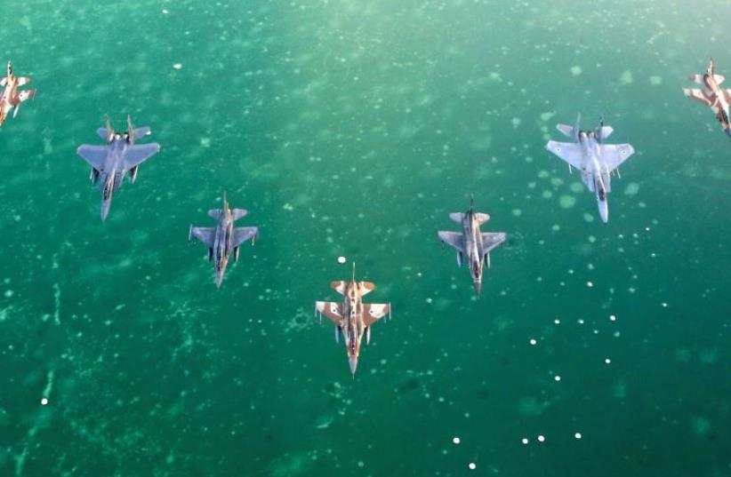 IAF fighter jets fly over the Dead Sea (photo credit: IDF SPOKESPERSON'S UNIT)