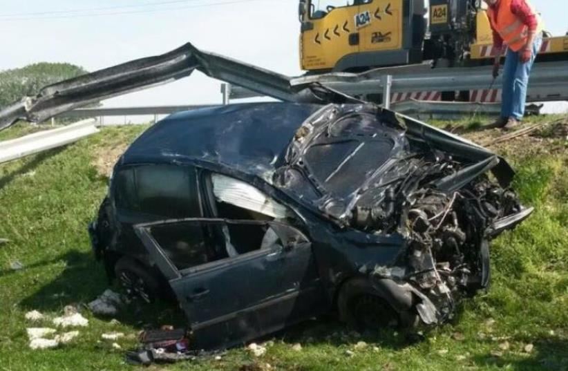 The scene of the car crash (photo credit: Courtesy)