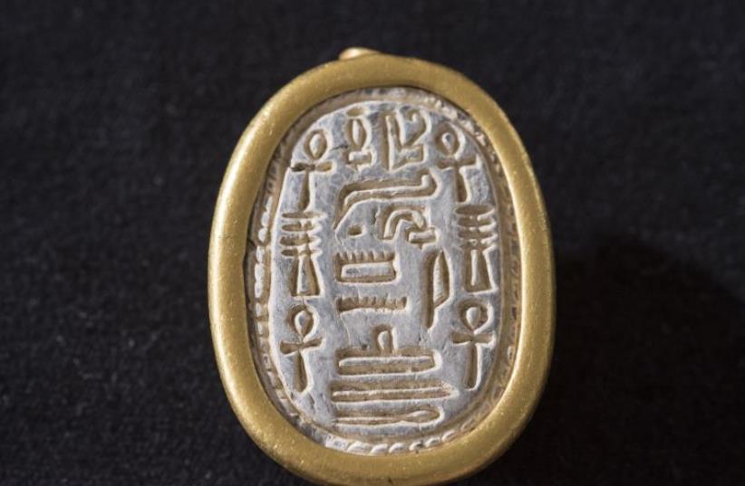 A rare scarab seal has been found at Tel Dor (photo credit: TEL DOR EXCAVATIONS/COURTESY)