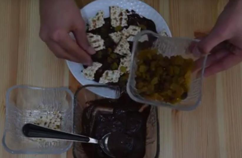 What do IDF soldiers do to play up their matza? (photo credit: screenshot)