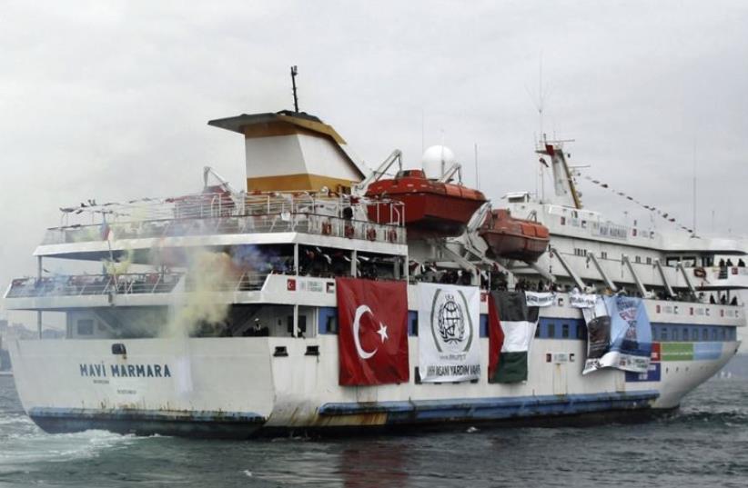 The Turkish ship Mavi Marmara leaves Istanbul May 22, 2010, aiming to break the Israeli blockade of Gaza (photo credit: REUTERS)