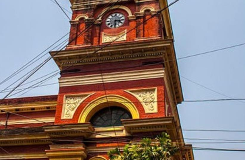 Magen David Synagogue is located at the junction of Brabourne Road and Canning Street in Kolkata and was built in 1884 by Elias David Joseph Ezra. (photo credit: INDRAJIT DAS)