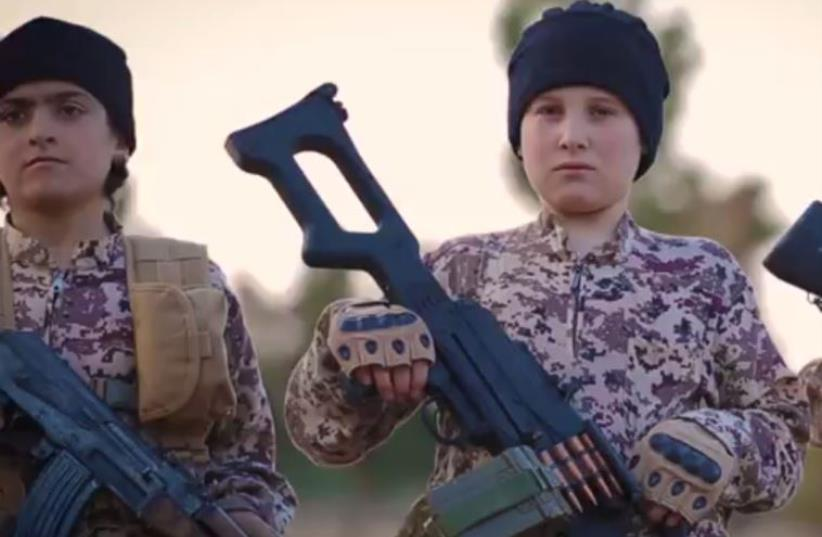 ISIS child militants sing in French (photo credit: screenshot)