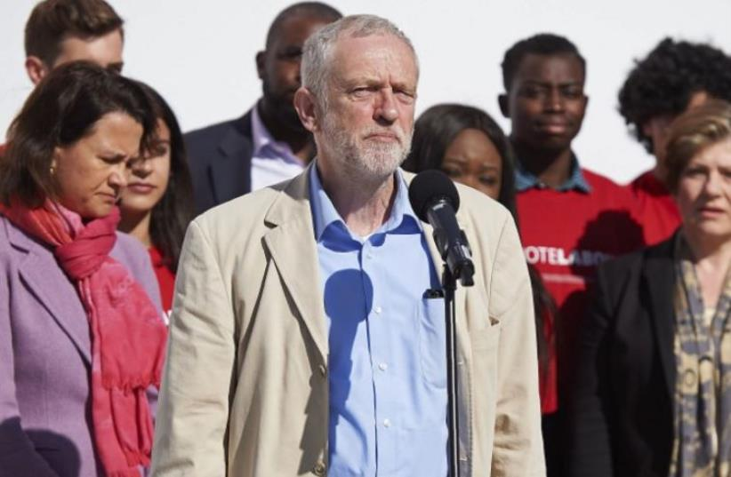 Labor Party leader Jeremy Corbyn makes an appearance in London (photo credit: AFP PHOTO)