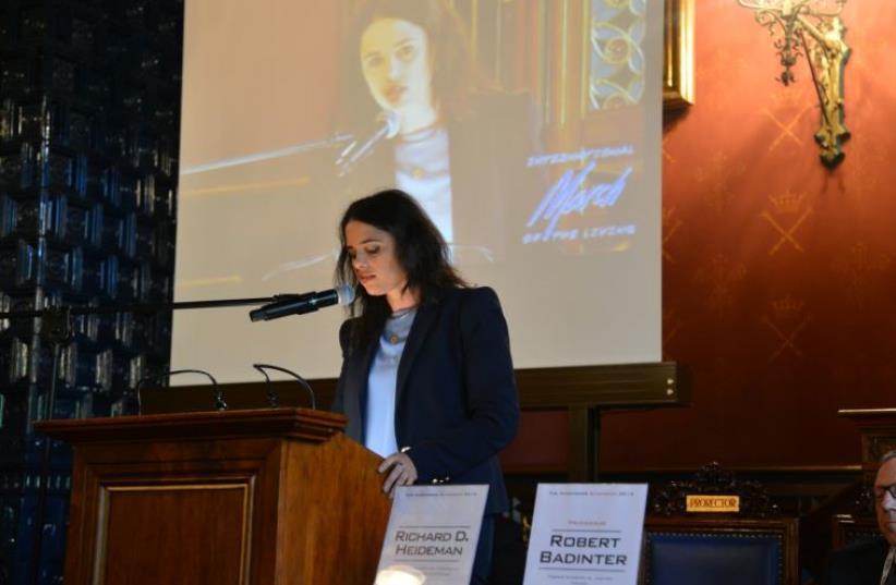 Ayelet Shaked speaks at Nuremberg Symposium in Krakow, Poland  (photo credit: YOSSI ZELIGER,MOSHE MILNER)
